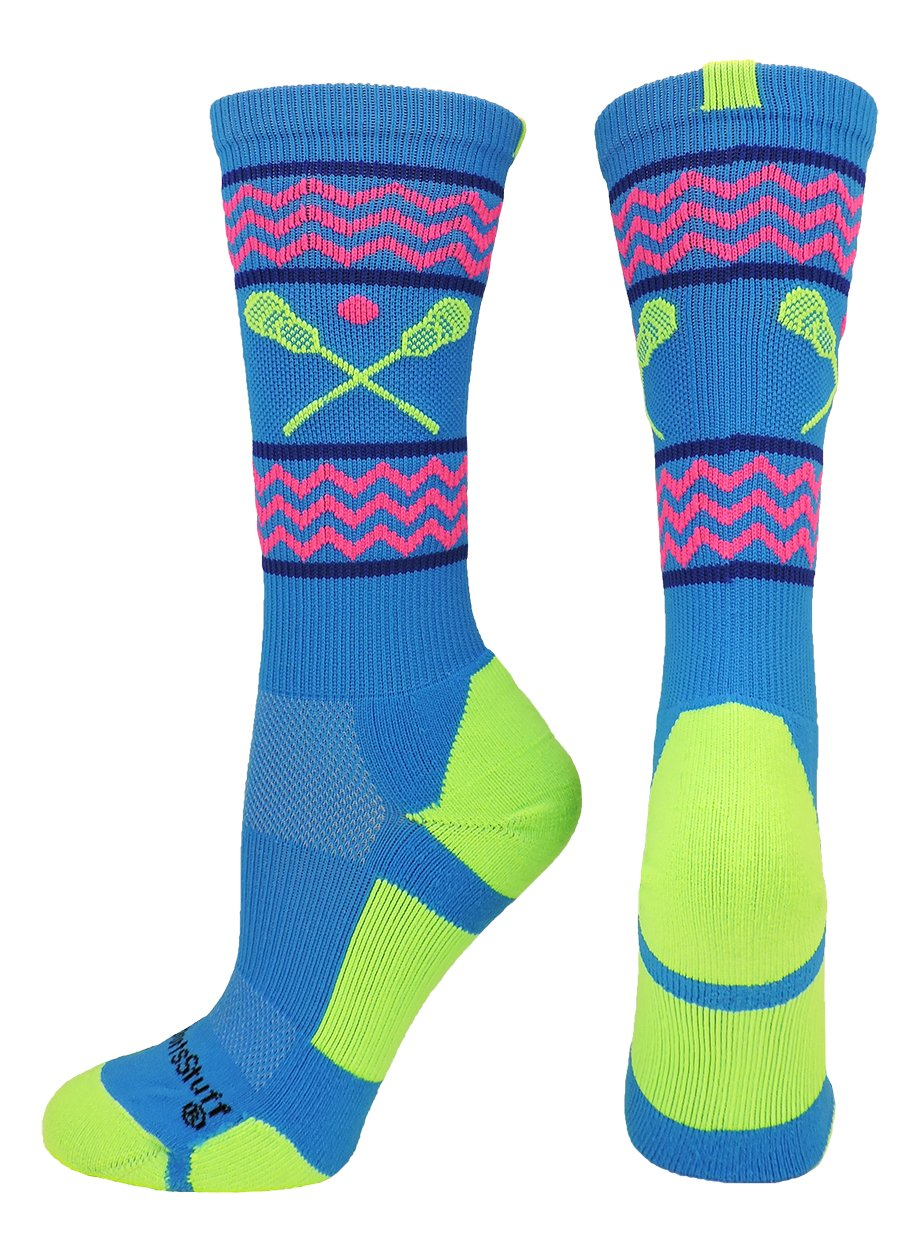 MadSportsStuff Chevron Girls Lacrosse Socks with Lacrosse Sticks Athletic Crew Socks (Electric Blue/Neon Green, Medium) by MadSportsStuff