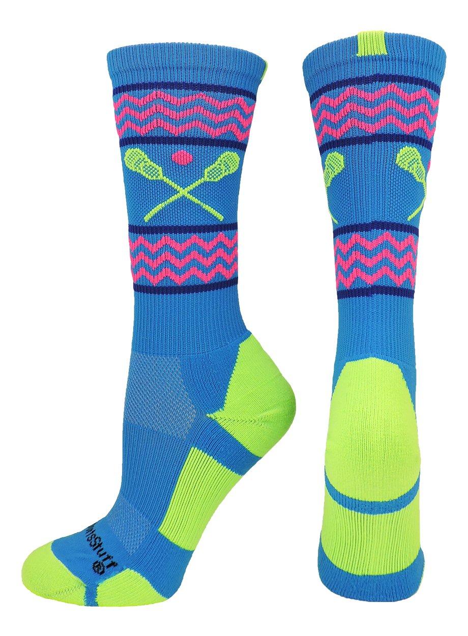 MadSportsStuff Chevron Girls Lacrosse Socks with Lacrosse Sticks Athletic Crew Socks (Electric Blue/Neon Green, Large) by MadSportsStuff