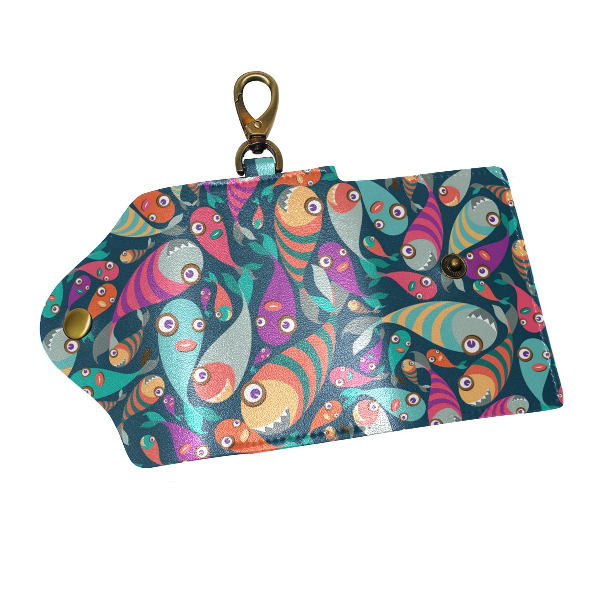 KEAKIA Tropical Fish Leather Key Case Wallets Tri-fold Key Holder Keychains with 6 Hooks 2 Slot Snap Closure for Men Women