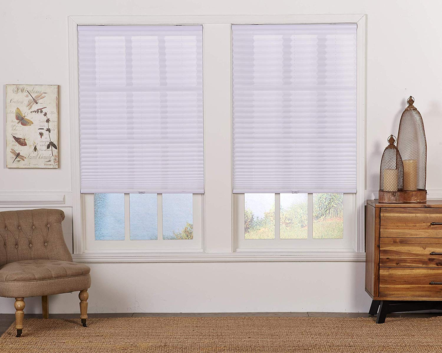 White 35W x 48L Inches DEZ Furnishings QDWT350480 Cordless Light Filtering Pleated Shade