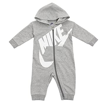 Nike Infant Futura Coverall Romper (0-3 Months, Dark Grey Heather (042) /  White/Dark Grey Heather)