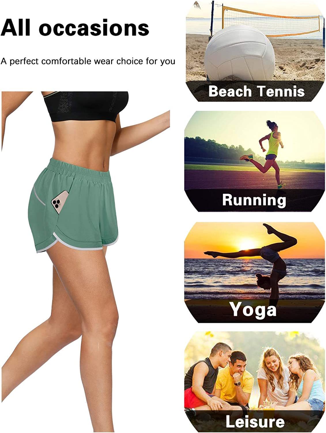 Blevonh Women Elastic Waist Double Layer Casual Running Shorts with Side Pockets