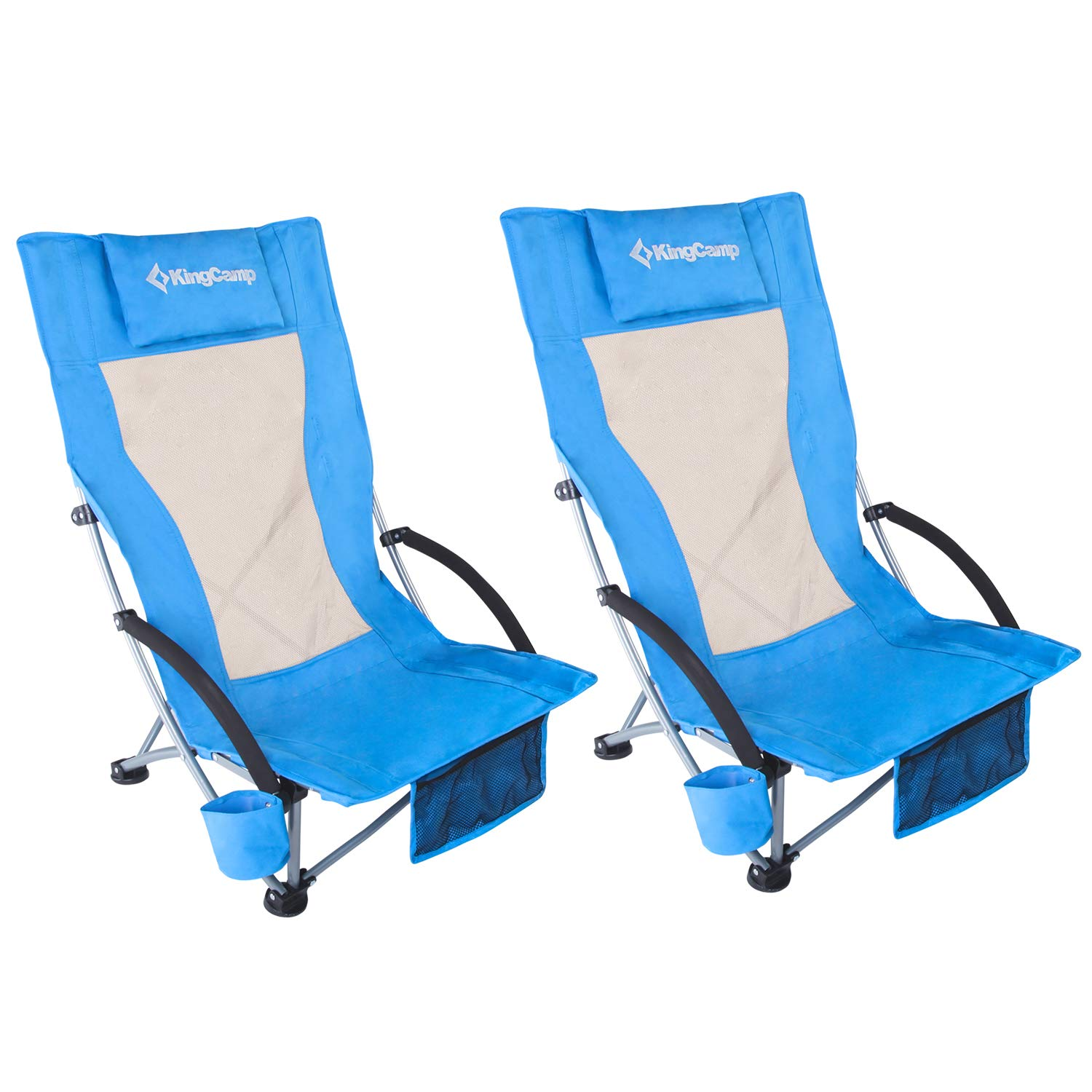 KingCamp Low Sling Beach Camping Concert Folding Chair, Low and High Mesh Back Two Versions (Blue-High Back-2 Pack) by KingCamp