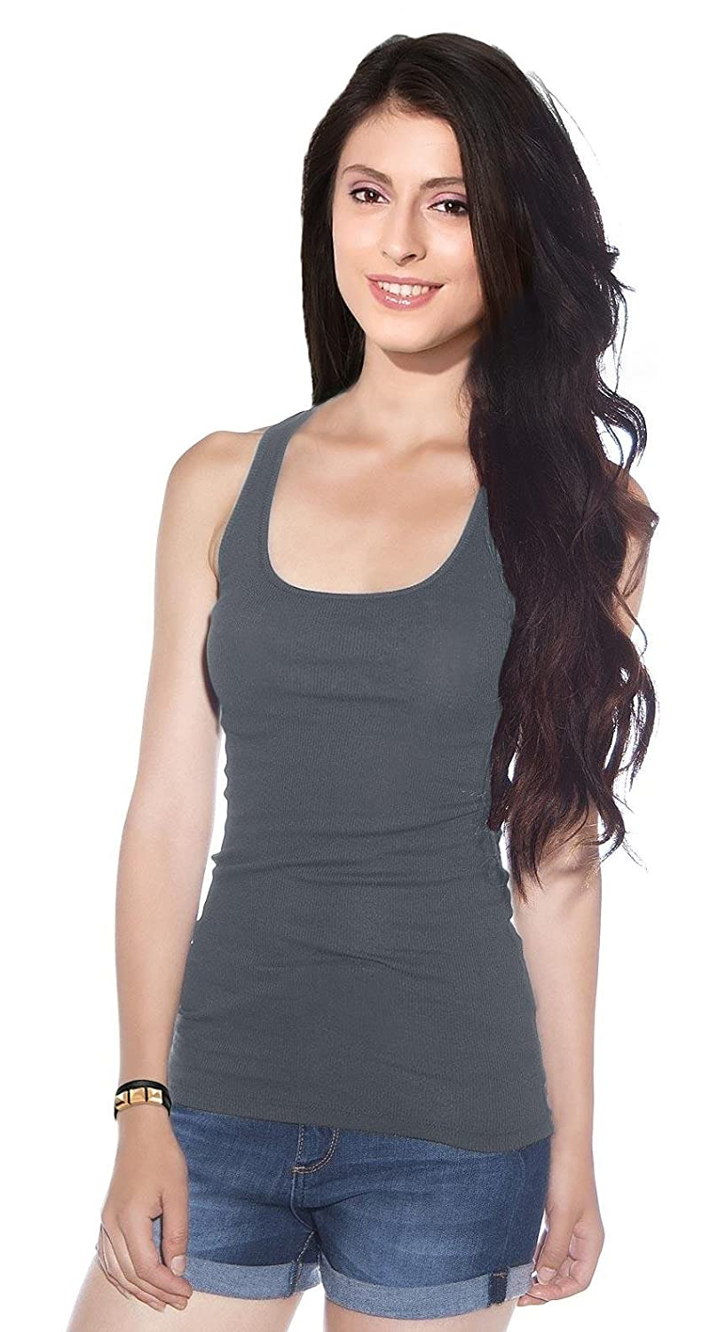5f5bddedc9b Junior s Reg and Plus Size Solid Cotton Stretch Racerback Ribbed Long Tank  Top at Amazon Women s Clothing store