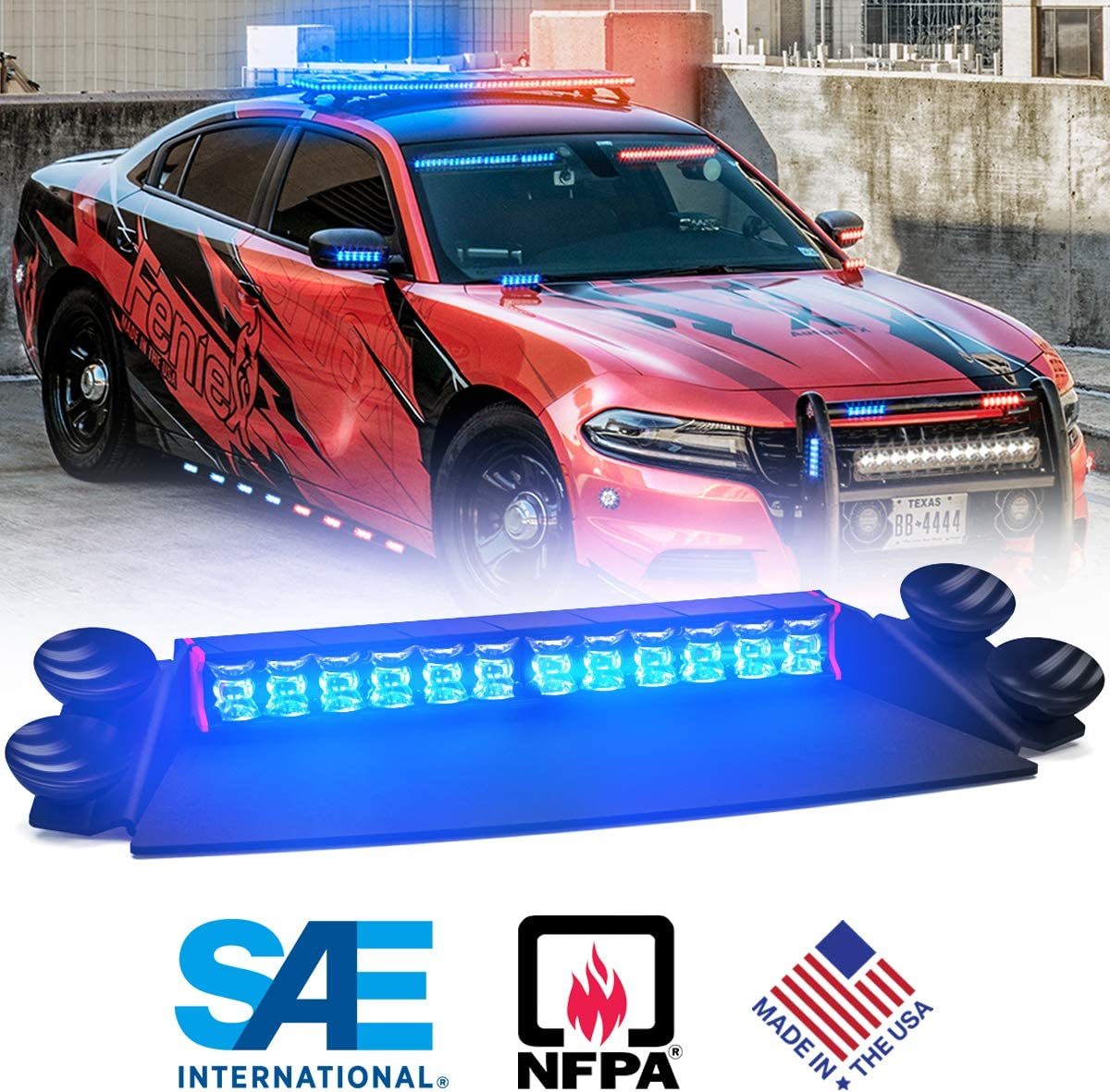 180/° Wide Beam, Red-Blue Feniex Fusion 2X Deck /& Dash LED Light Single Color