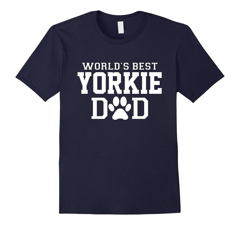 World's Best Yorkie Dad Dog Lover Pawprint T-Shirt-BN