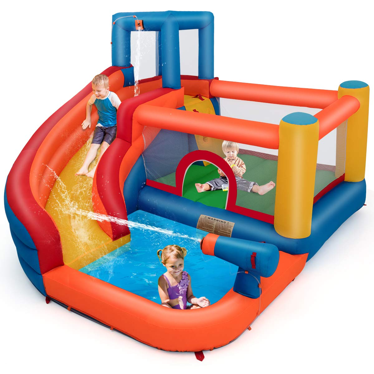 Costzon Inflatable Bounce House, 5-in-1 Water Slide w/ Climbing Wall, Jumping Area, Splash Pool, Water Cannon, Including Oxford Carry Bag, Repairing Kit, Stakes, Hose, Without Blower by Costzon (Image #1)