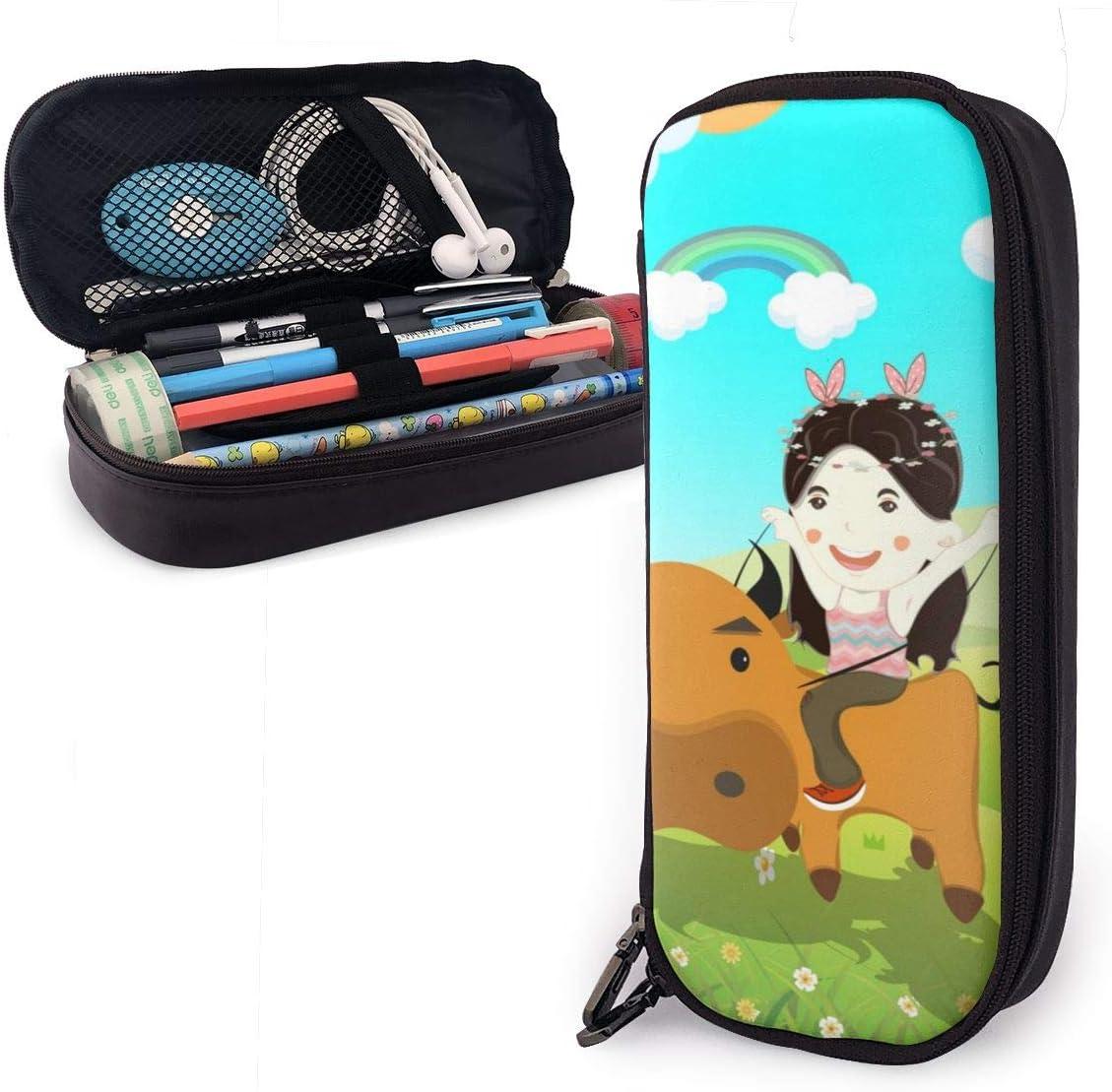 Estuche de verano para niños y niñas con diseño de vaca que monta a caballo, para estudiantes, universidades, material escolar y oficina