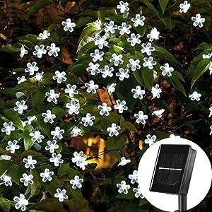 SKYFIRE Solar Flower String Lights,22ft 50 Led Cherry Blossoms String Lights Outdoor Waterproof Solar Powered Fairy Lights for Outdoor,Garden, Patio (White)