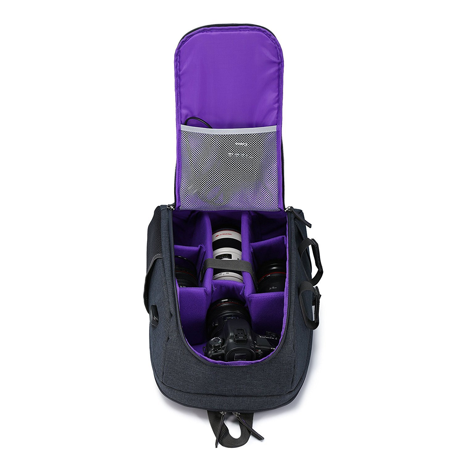 Camera Backpack Bag Waterproof Nylon DSLR Backpack Professional Camera Case with USB External Charging Port for Canon Nikon Sony Camera Accessories and Laptops Tablets Black (Purple)
