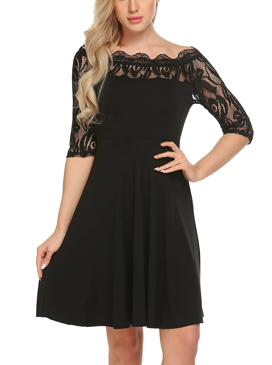 11b571efab12 Showyoo Women s Off The Shoulder Lace Sleeve Party Cocktail Swing Dress at  Amazon Women s Clothing store
