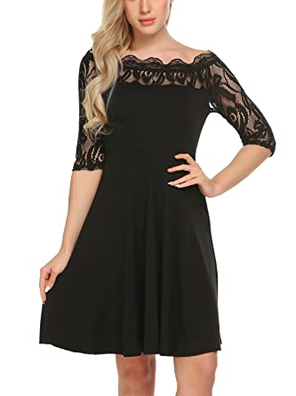 dec6c7234938 Showyoo Women s Off The Shoulder Lace Sleeve Party Cocktail Swing ...