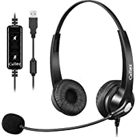 USB Headset with Microphone Noise Cancelling & Audio Controls, Stereo Computer Headphones for Business Skype UC Lync…
