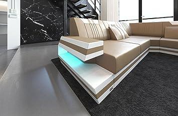 Sofa Dreams Xxl Wohnlandschaft Ravenna Sandbeige Weiss Amazon De