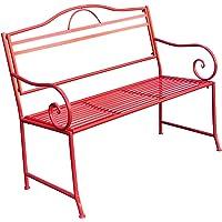 Garden Bench Seat Salsa Tonal Red Steel Metal Outdoor Park Coloured 116x48x92cm