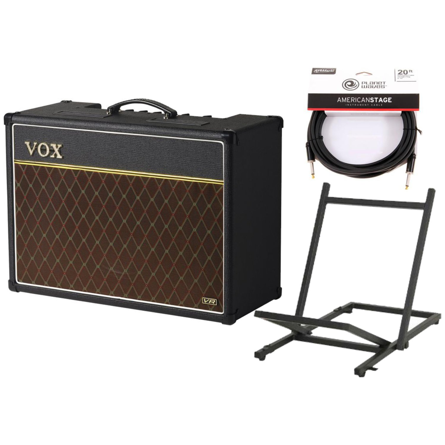 Vox AC15VR Valve Reactor 1x12 Guitar Combo Amp w/20' Instrument Cable and Amp Stand