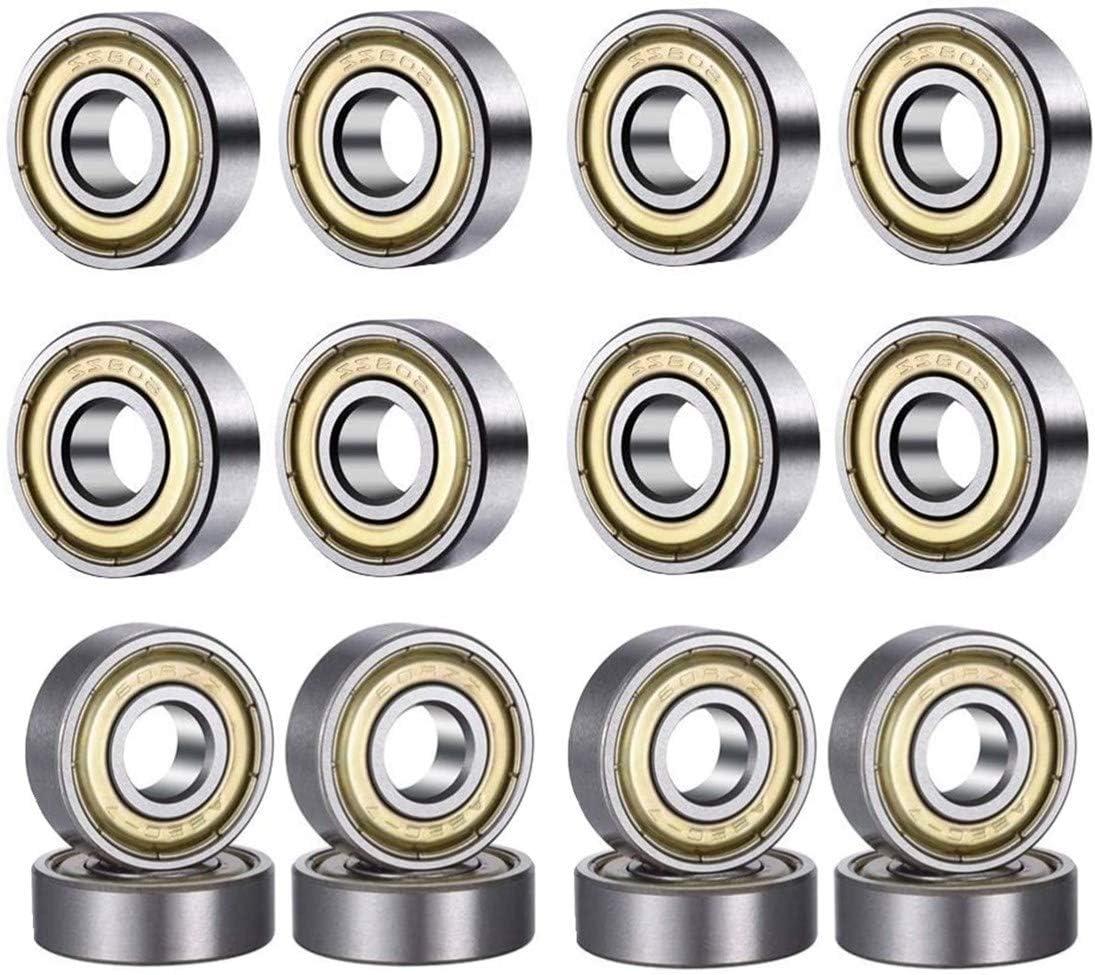HonLena 608 ZZ Kugellager 20 Pack 8mm x 22mm x 7mm Metall Double Shielded Miniatur Rillenkugellager f/ür Skateboard Roller Inline Skates