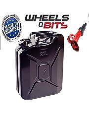 Wheels N Bits 20 Litre Plus 1 Spout Black Jerry Military Can Fuel Oil Water Petrol Diesel Storage