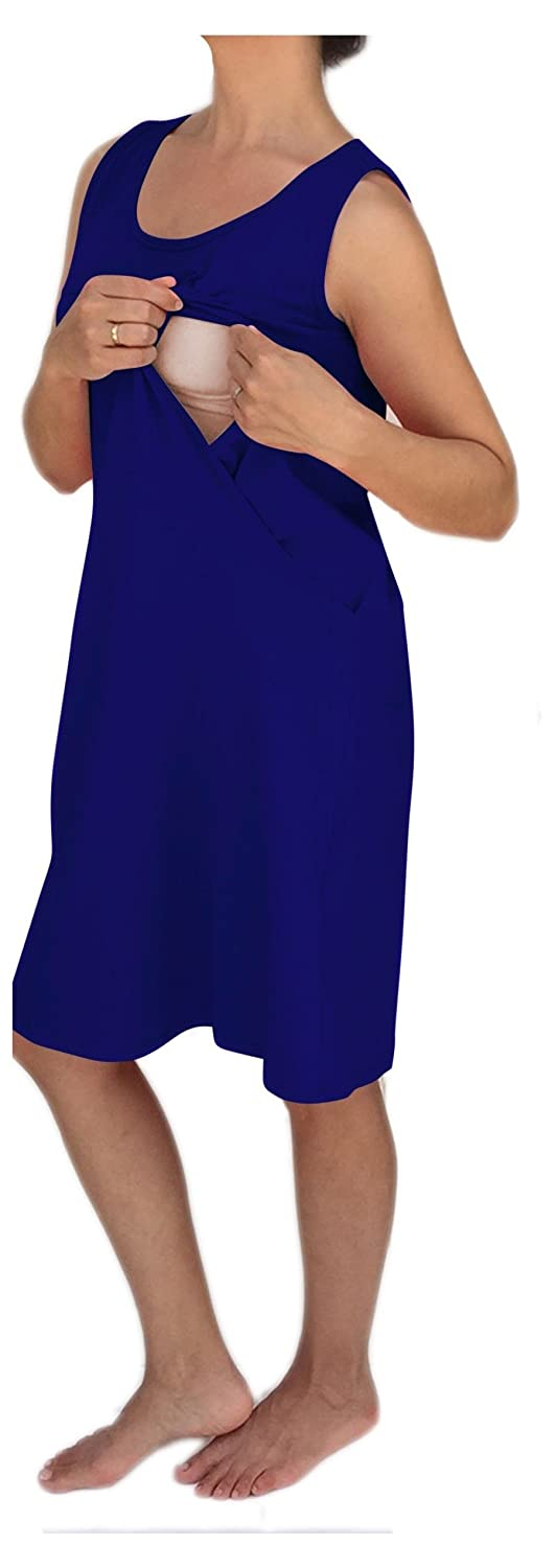 Sleeveless Maternity and Nursing Nightgown with Side Openings