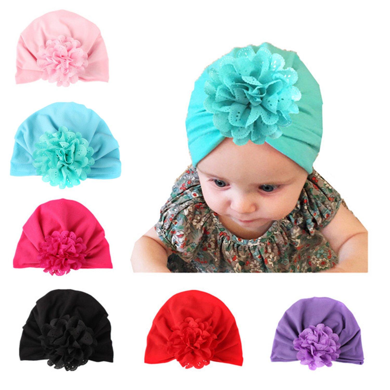 YQWEL Baby Newborn Girls Cotton Beanie Floral Knot Cap Hospital Hat Headwarp Turban