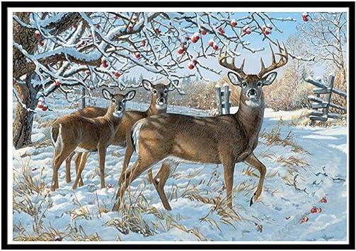 5D Diamond Painting Deer and Tree feilin Full Drill DIY 5D Diamond Rhinestone Crystal Painting Cross Stitch Kit Wall Art Decor Diamond Embroidery Painting by Number Kits Home Decor 40x30cm