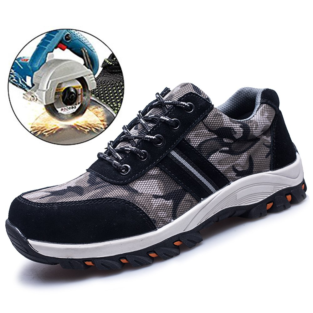TRUPO Mens Work Safety Shoes Construction Industrial Steel Toe Puncture Proof Footwear Camouflage Black 44