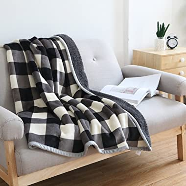 Ukeler Buffalo Check/Plaid Throw Blanket 50''×60'' for Couch- Ultra Soft Plush Flannel Fleece Sherpa Throw Bed Throws for Kids and Adult