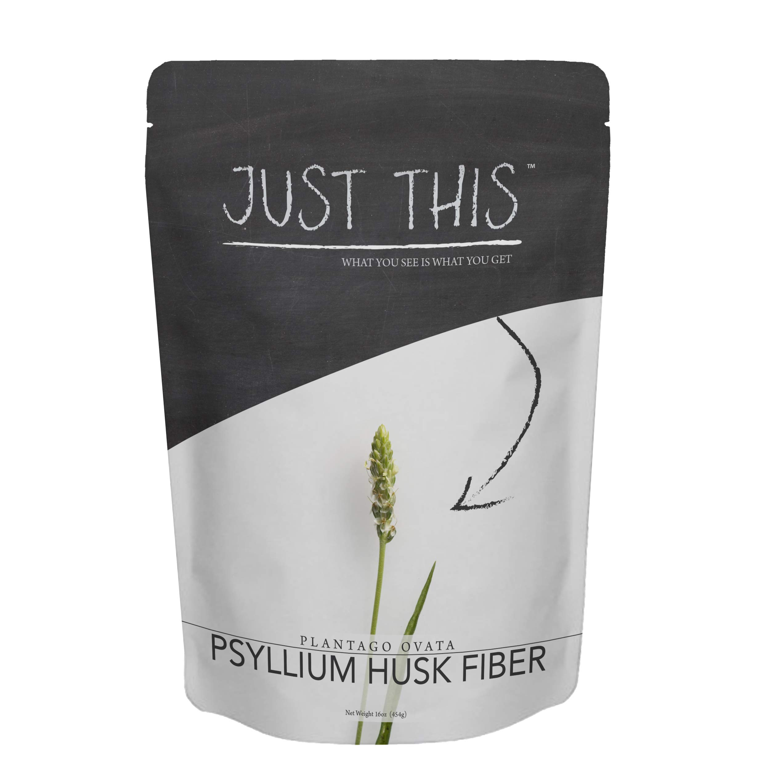 Natural Psyllium Husk Fiber Powder - Premium Soluble Fiber Supplement and Prebiotic - Simply Mix with Water or Use in Baking to Aid Constipation and Weight Loss - Just This Brand 16oz by Just This