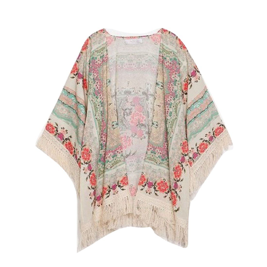 Tongshi Mujeres Impreso Floral de la Gasa de la Rebeca de la Borla mant/ón Kimono Chaqueta Top
