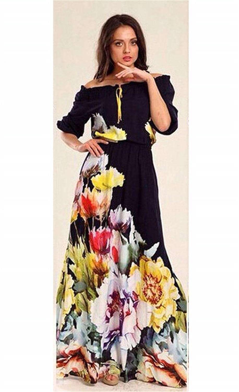 COCO clothing Vestido Maxi les Mujer Hombro Frío Manga Quinta Partido Dress Off Shoulder Sueltos Floral Estampado Swing Vestidos de Noche Fiesta Verano ...