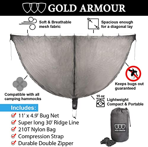 Gold Armour Hammock Bug Net – Guardian Mosquito Net for Bugs – Best Premium Quality Mesh Netting, No See Um and Insects – Perfect Accessory for Your Hammocks