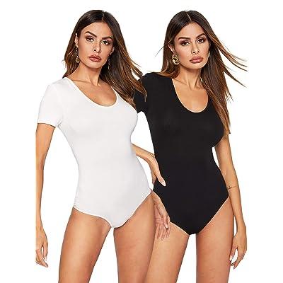 WDIRARA Women's Two Piece Scoop Neck High Waist Short Sleeve Skinny Bodysuit: Clothing