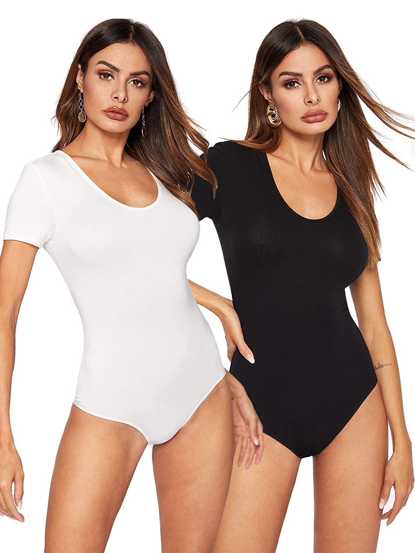 WDIRARA Womens Two Piece Scoop Neck High Waist Short Sleeve Skinny Bodysuit