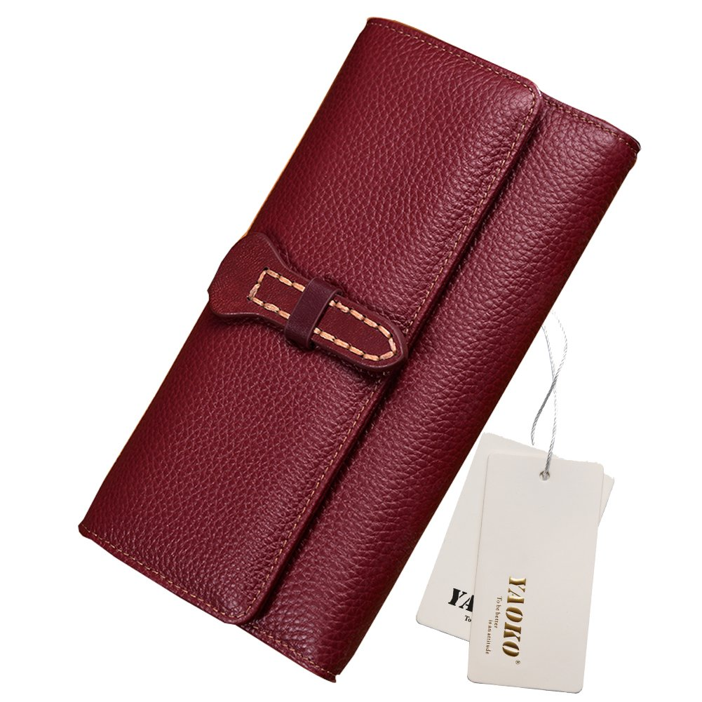 Women's RFID Blocking Large Capacity Luxury Wax Genuine Leather Cluth Wallet Card Holder Ladies Purse (Updated Style-Red)