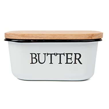 Farmhouse style Enamel Butter Dish / Boat with Wooden lid. Holds 1.5 LBS of butter! Classic Black and White + 10 Free Butter Recipes!