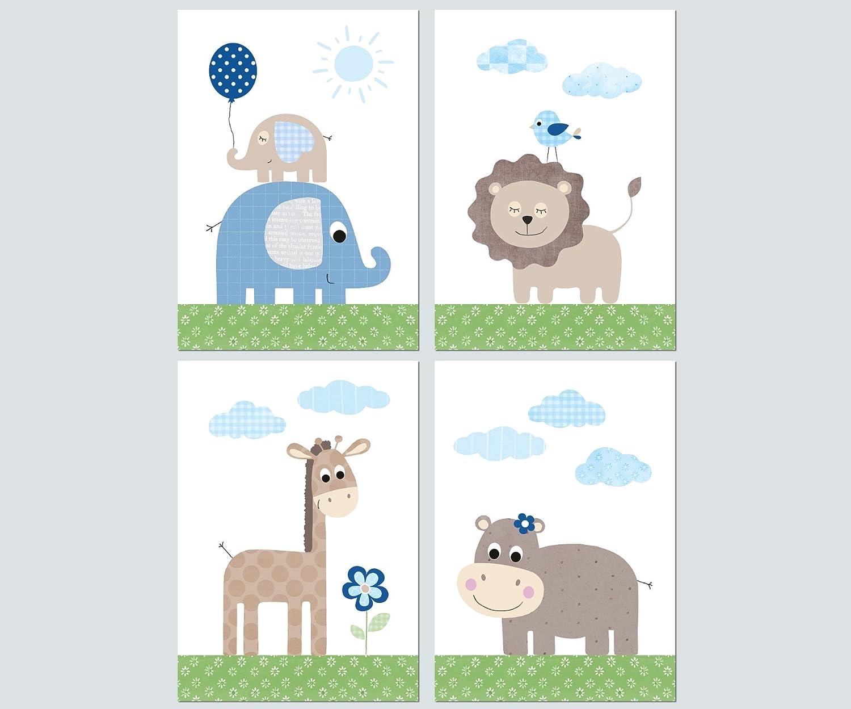 Baby Dschungeltiere Poster Bilder Set 4x A4 Blau Babyzimmer Kinderzimmer Deko Junge Omnia Ae