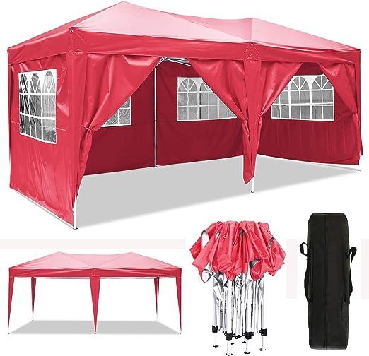 Cenador plegable 3 x 3 m / 3 x 6 m, resistente al agua, para jardín, para fiestas, festivales, gazebo plegable, protección solar., color rojo, tamaño 3 x 6 m: Amazon.es: Jardín