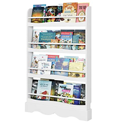 size 40 8242d ce26f Homfa Children Bookshelf Kids Shelves Wooden Book Display Stand Organizer  White 80x11.5x118cm
