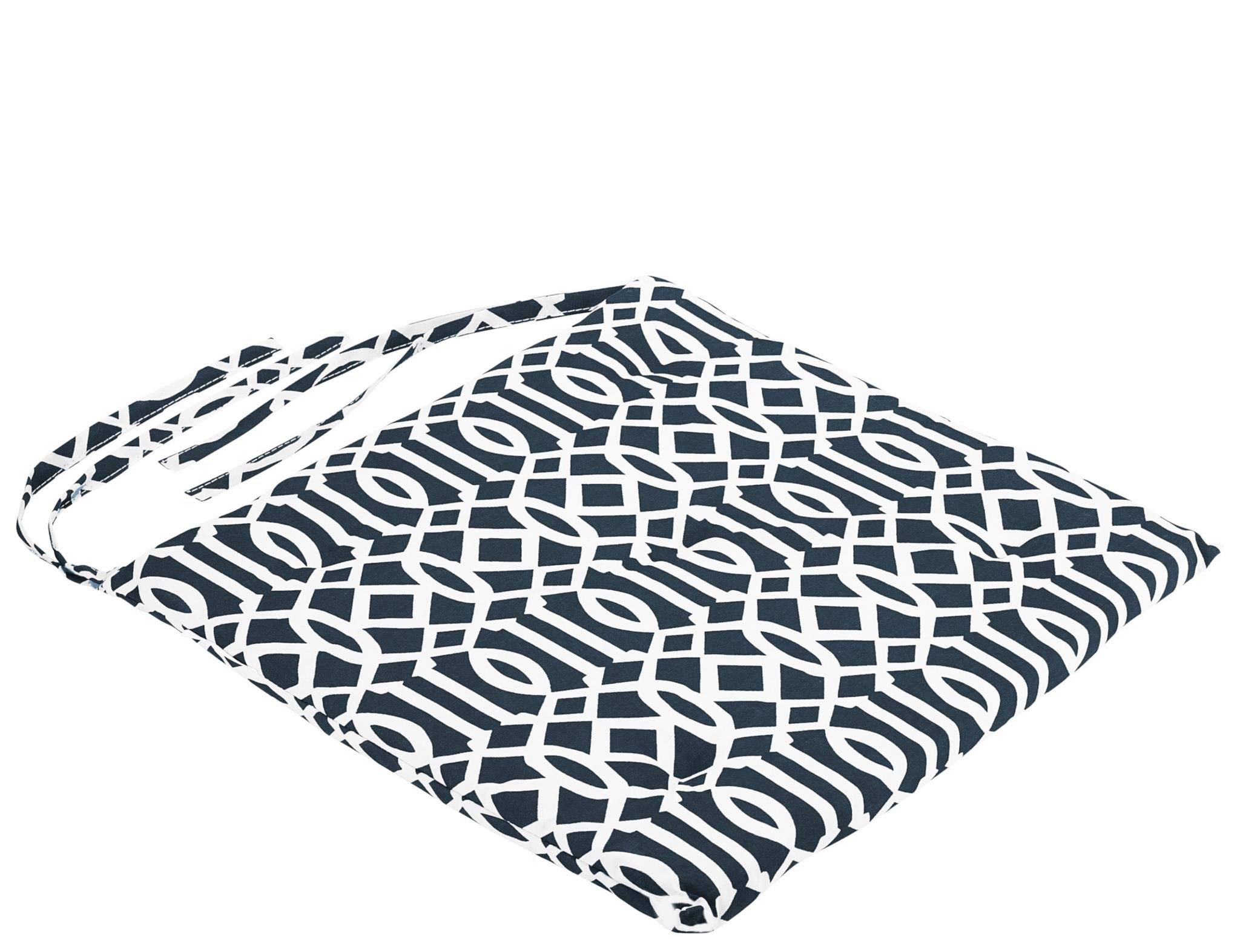 DecorRack 4 Seat Cushion Pads 100% Cotton Cover with Ties, Ideal Chair Pad for Indoor, Reversible Square Kitchen Seat Cover Chair Pillows, Modern Dark Navy White Design 1 inch Lightweight (Pack of 4)