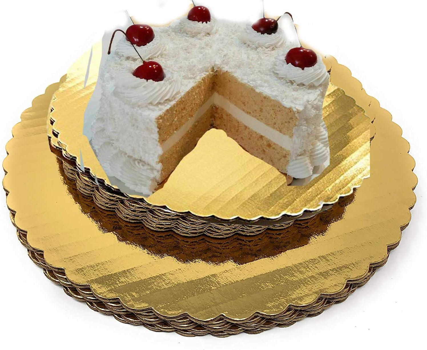 Cake Board Circle-gold Corrugated Cardboard, gold Cake Circle 100% Food Safe good for Cake(12