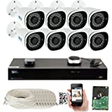 GW Security H.265 Video Audio Recording IP Camera System, 8 Channel 4K NVR, 8 x 5MP HD 1920P PoE Bullet Security Camera Built-In Microphone Outdoor Indoor, QR-Code Connection