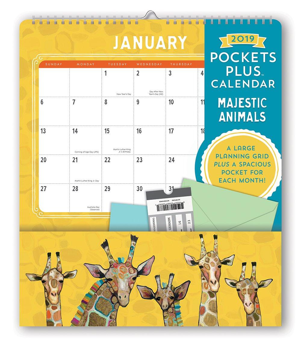 Calendario de pared con bolsillos y EliHalpin diseño de círculo naranja 2019, de EliHalpin y Majestic Animals 847c57