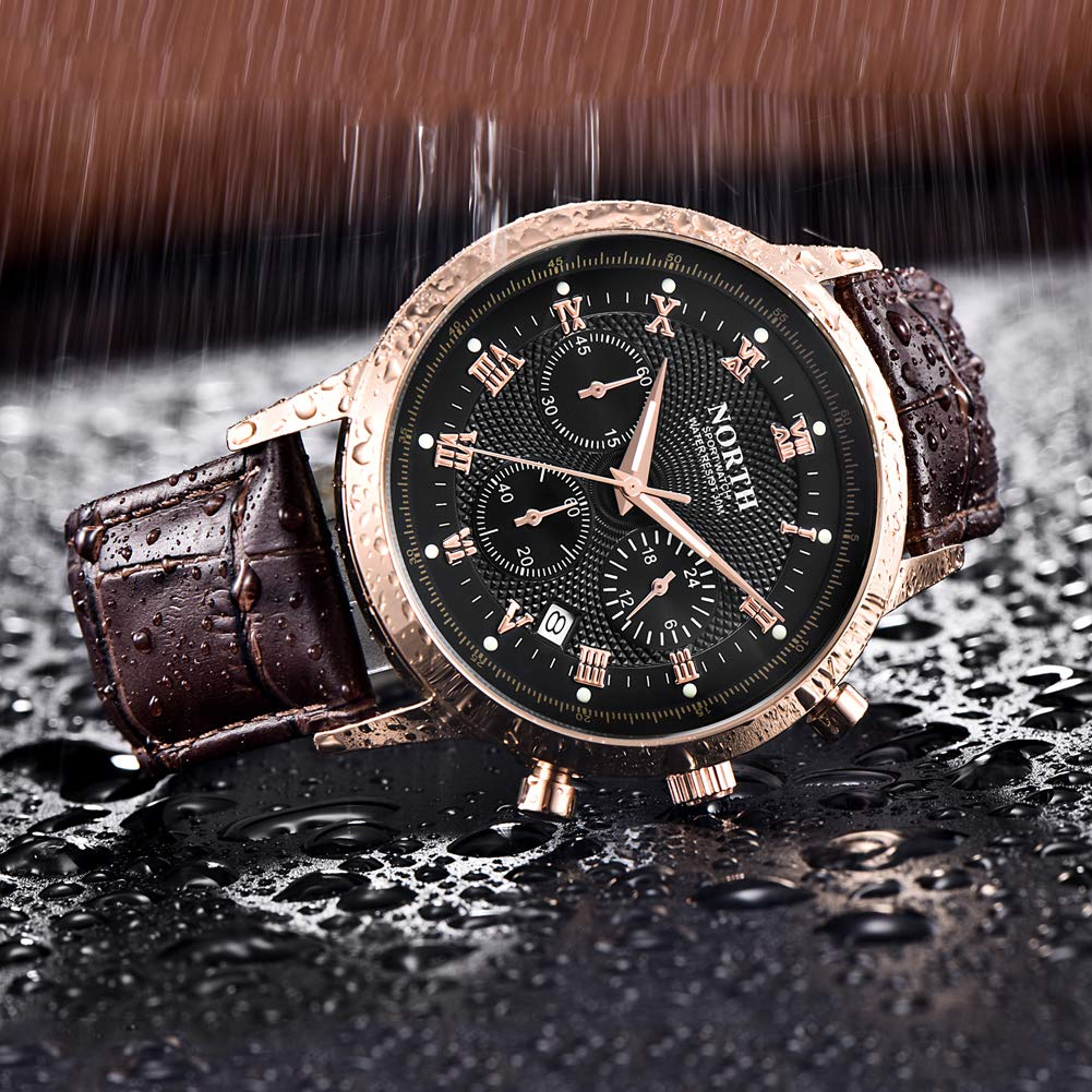 Amazon.com: NORTH Men Luxury Watches, Mens Chronograph Sport Wrist Watch, Water Resistant Date Leather Watch for Men (6009-6PBG): Watches