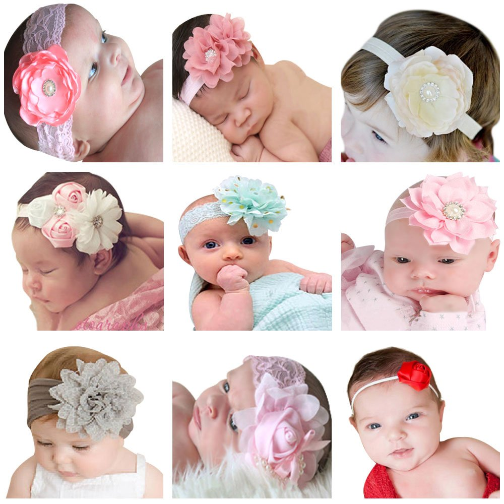 himipopo 9Packs Baby Headbands Girl's Hairbands for Newborn,Toddler and Childrens
