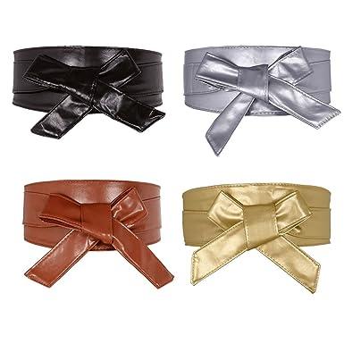 Faleto Ceinture À Nouer Obi En Faux Cuir PU Large Bande Papillon Souple  Bandage Haute Femme 23e8c12cb74
