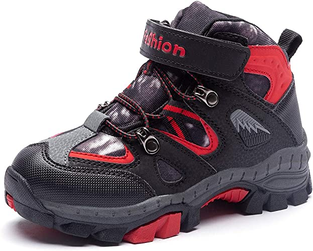 KAOTE Kids Hiking Boots Snow Boots Boys Girls Winter Boots Outdoor Warm Shoes (Little Kid/Big Kid) Black/Red