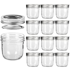 Wide Mouth Mason Jars 8 OZ, KAMOTA 8 OZ Mason Jars Canning Jars Jelly Jars With Wide Mouth Lids and Bands, Ideal for Jam, Honey, Wedding Favors, Shower Favors, Baby Foods, 12 PACK