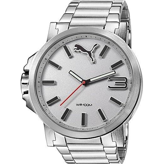 Puma Ultrasize Metal - Reloj análogico de cuarzo con correa de acero inoxidable para hombre, color plata/plata: Amazon.es: Relojes
