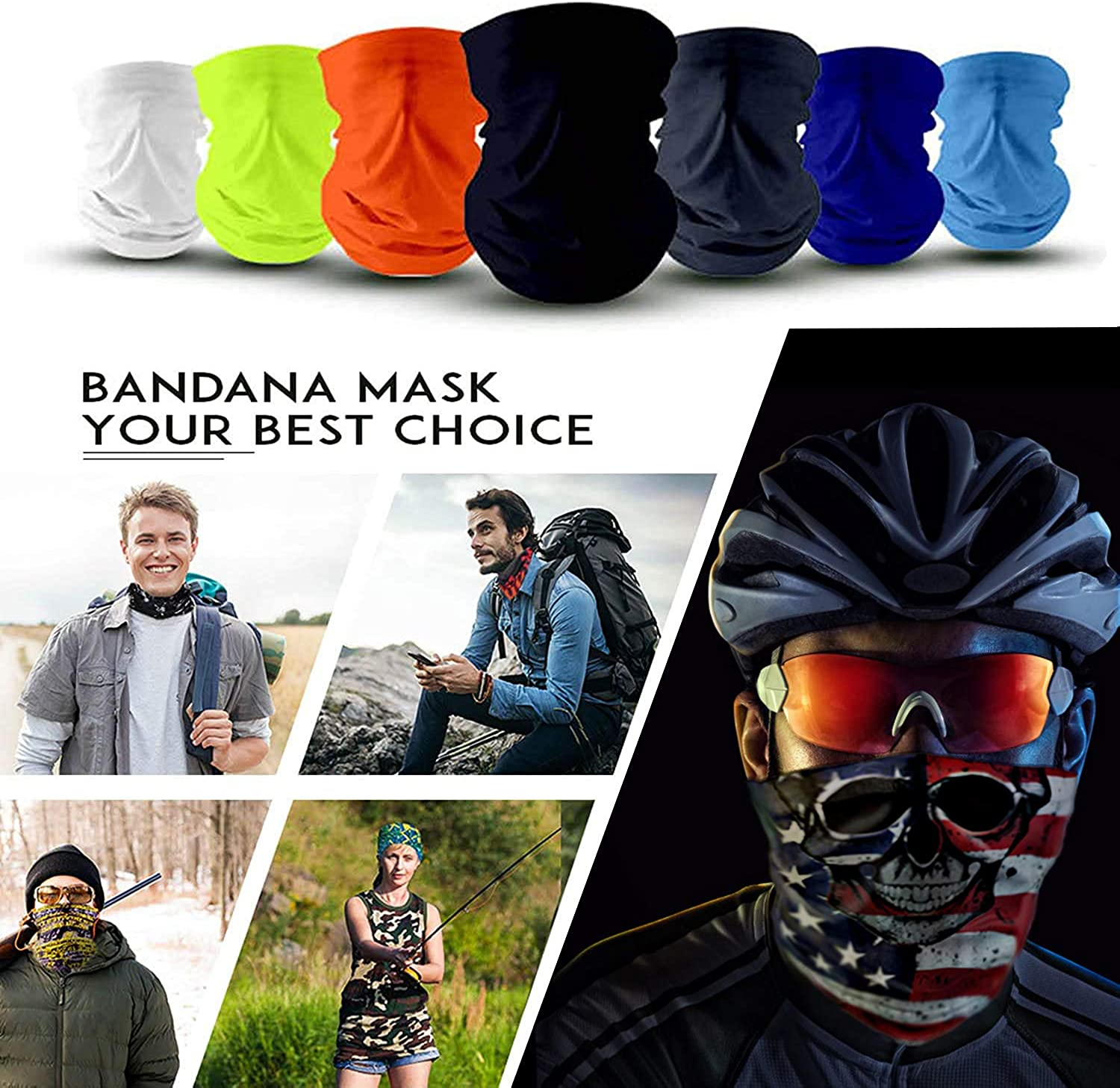 Elimoons Bandanas for Men & Women Breathable Cooling Neck Gaiters,Summer UV Protection Face Cover Outdoor Sport Reusable Face Shield Fishing Running Motorcycle