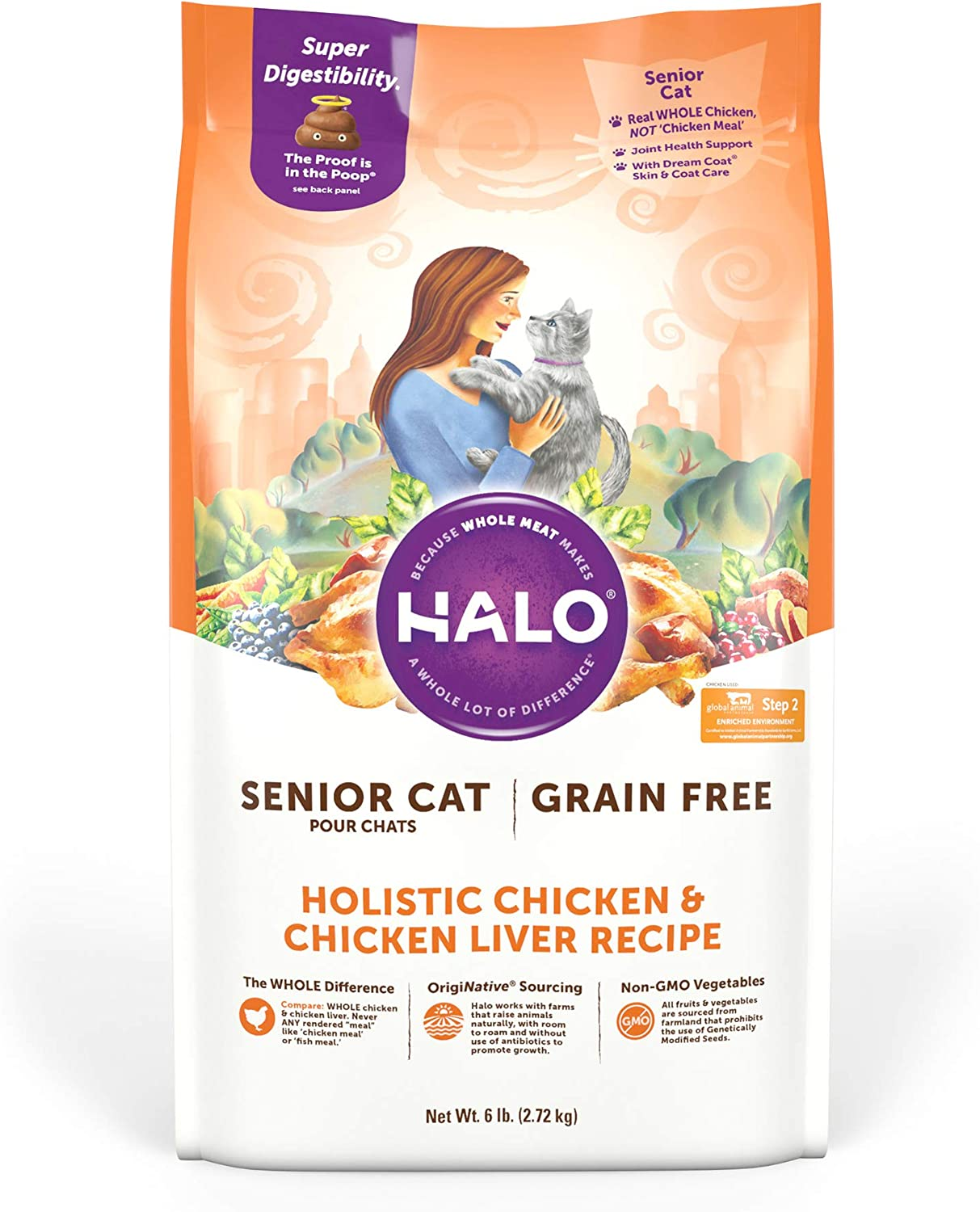 Halo Grain Free Natural Dry Cat Food - Senior Cat Recipe - Premium and Holistic Chicken & Chicken Liver - 6 Pound Bag - Sustainably Sourced Adult Cat Food -Real Whole Meat, Highly Digestible, Non-GMO